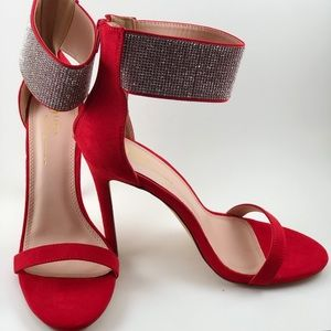 Red Fabric Stiletto Heel w/ Rhinestone Ankle Cuff